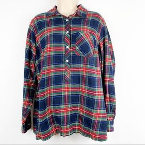 Land's End 1/2 Button Down Flannel Shirt Size 14W